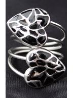 Anel Espiral de Aço Inox com Corações Preto
