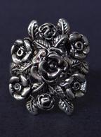 Anel de Rosas Folheado a Prata