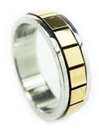 Anel de Aço Inox Prata com detalhes Dourados Unisex