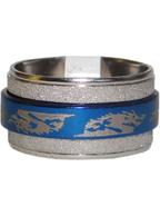 Anel de Aço Giratório Azul com Prata Dragão Mortal Kombat