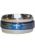 Anel de Aço Giratório Azul com Prata Oração do Pai Nosso em Espanhol
