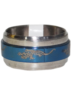 Anel de Aço Giratório Azul com Prata Desenho Abstrato