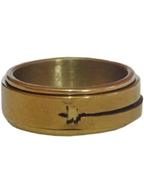 Anel Giratório de Aço Inox Dourado Folha