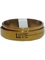 Anel Giratório de Aço Inox Dourado Love