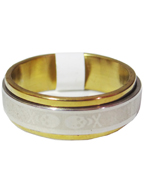 Anel de Aço Giratório Prata com Dourado com Desenho Caveiras