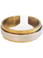 Anel de Aço Giratório Prata com Dourado com Desenho Escorpião