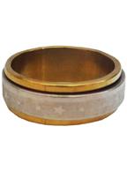 Anel de Aço Giratório Prata com Dourado com Desenho Estrelas