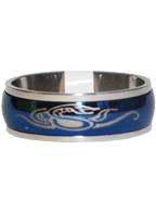 Anel de Aço Giratório Oval Azul com Prata Cobra