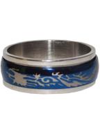 Anel de Aço Giratório Oval Azul com Prata Dragão