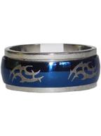 Anel de Aço Giratório Oval Azul com Prata Tribal