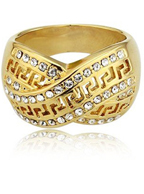Anel com Strass Designer Folheado Ouro 18K Dourado