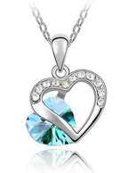 Corrente com Pingente de coração Banhada em Ouro Branco 18K Pedra Zirconia Strass Azul Turquesa 23 cm