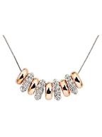 Corrente com Pingentes de Anéis com Cristal Strass Prata com Dourado Banhada em Ouro Branco 22,5 cm
