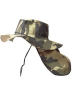 Chapéu Australiano Camuflado VERDE Claro C/ Protetor de Nuca p/ Pescador, Mateiro, Agricultor entre Outros