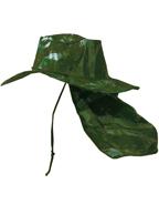 Chapéu Australiano Camuflado VERDE Selva C/ Protetor de Nuca p/ Pescador, Mateiro, Agricultor entre Outros